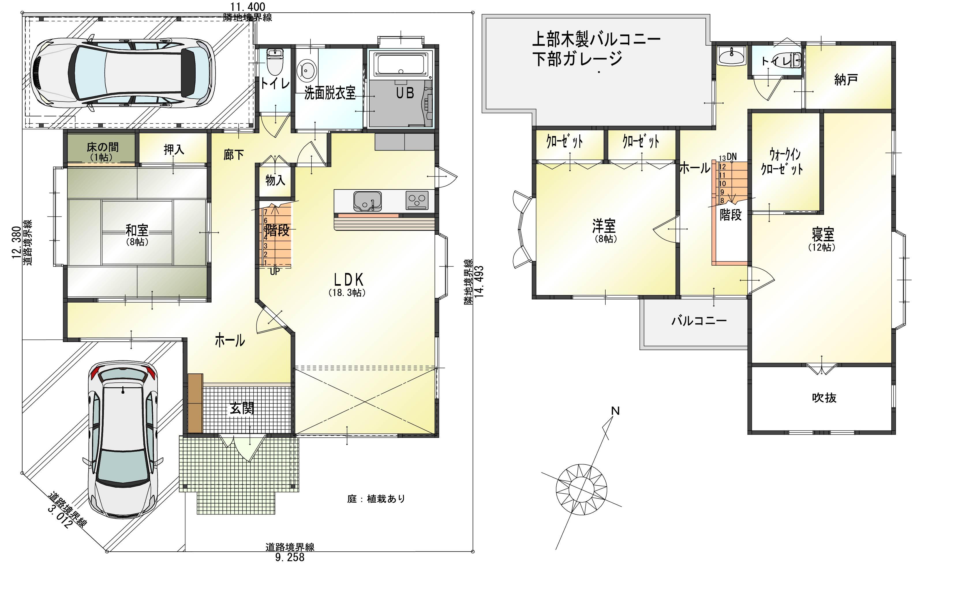 新潟市東区秋葉の【中古住宅】不動産情報の間取図