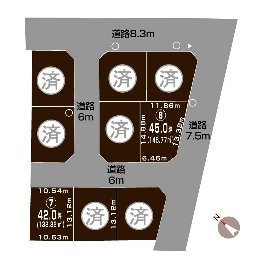 新潟市北区葛塚の【土地】不動産情報の敷地図