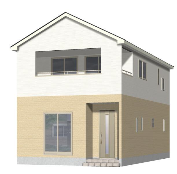 新潟市江南区曽野木の新築住宅1号棟の外観完成予定パース