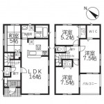 新潟市西区大野町の新築住宅1号棟の間取図