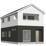 新潟市西区大野町の新築住宅2号棟の外観完成予定パース