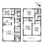 新潟市西区大野町の新築住宅2号棟の間取図