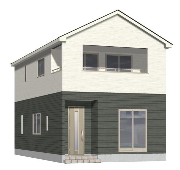 新潟市江南区曽野木の新築住宅2号棟の外観完成予定パース