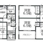 新潟市東区物見山の新築住宅1号棟の間取図