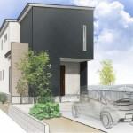 新潟市西区小新の土地の建物プラン例の外観パース