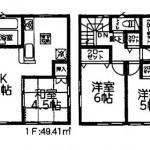 新発田市豊町の新築住宅の1号棟間取図
