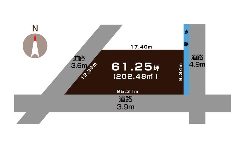 三条市興野の土地の敷地図(敷地図)