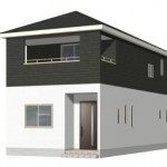 新潟市西区鳥原の新築住宅2号棟の外観完成予定パース