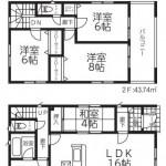 新潟市西区鳥原の新築住宅1号棟の間取図