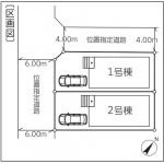 新潟市東区東中島の新築住宅の配置図