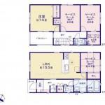 新潟市東区江南の新築住宅2号棟の間取図