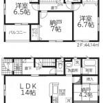 新潟市東区東中島の新築住宅2号棟の間取図