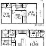 新潟市西区鳥原の新築住宅2号棟の間取図