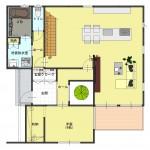 燕市吉田の土地の建物プラン例の1階間取り図