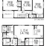 新潟市東区東中島の新築住宅1号棟の間取図