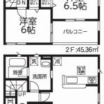 新潟市北区松浜新町の新築住宅1号棟の間取図