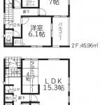 新潟市東区紫竹1号棟の新築住宅の間取図