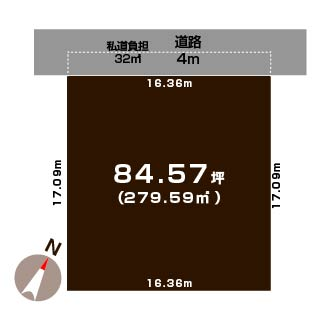 新潟市中央区女池の土地の敷地図