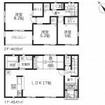 新発田市御幸町2号棟の新築住宅の間取図