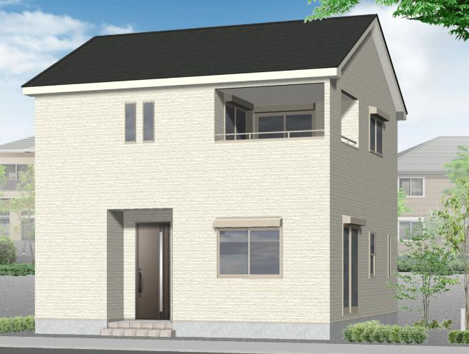 新発田市御幸町の新築住宅2号棟の外観完成予定パース