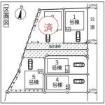 新潟市東区牡丹山の新築住宅の配置図