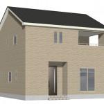 新潟市秋葉区荻島の新築住宅の1号棟外観完成予定パース