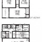 新潟市秋葉区荻島の新築住宅の2号棟間取図