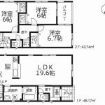 新潟市東区牡丹山の新築住宅4号棟の間取図