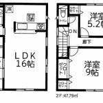 新潟市東区牡丹山の新築住宅1号棟の間取図