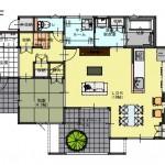 北蒲原郡聖籠町の土地の建物プラン例の1階間取り図