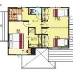 北蒲原郡聖籠町の土地の建物プラン例の2階間取り図