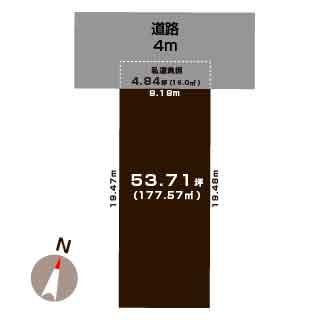 新潟市東区紫竹の【土地】不動産情報の敷地図
