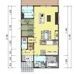 新潟市西区寺尾の土地の建物プラン例の1階間取り図