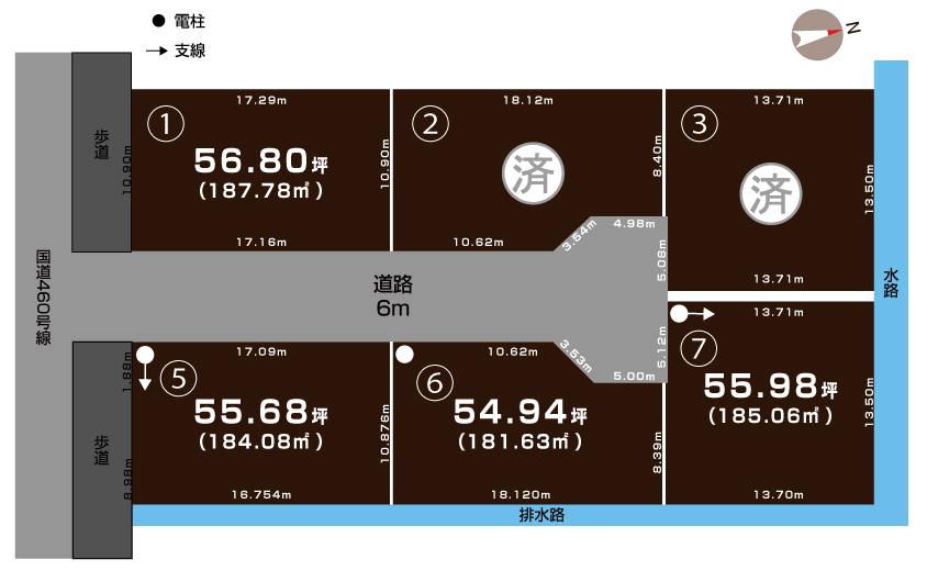 新潟市西蒲区赤鏥の土地の敷地図