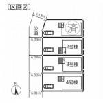 新潟市西区五十嵐の新築住宅の配置図