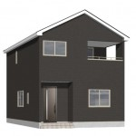 新潟市西区五十嵐の新築住宅1号棟の1号棟外観完成予定パース