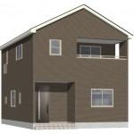 五泉市旭町の新築住宅1号棟の外観完成予定パース