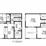新潟市西区五十嵐の新築住宅1号棟の間取図