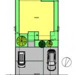 新潟市東区紫竹の土地の建物プラン例の配置図