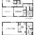 新潟市西区五十嵐の新築住宅2号棟の間取図