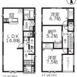 新潟市東区逢谷内の新築住宅2号棟の間取図