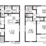 新潟市秋葉区金沢町の【新築住宅】2号棟の間取図