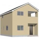 新潟市西区五十嵐の新築住宅2号棟の2号棟外観完成予定パース