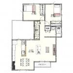 新潟市東区海老ケ瀬新町の土地(区画3)の建物プラン例の2階間取り図