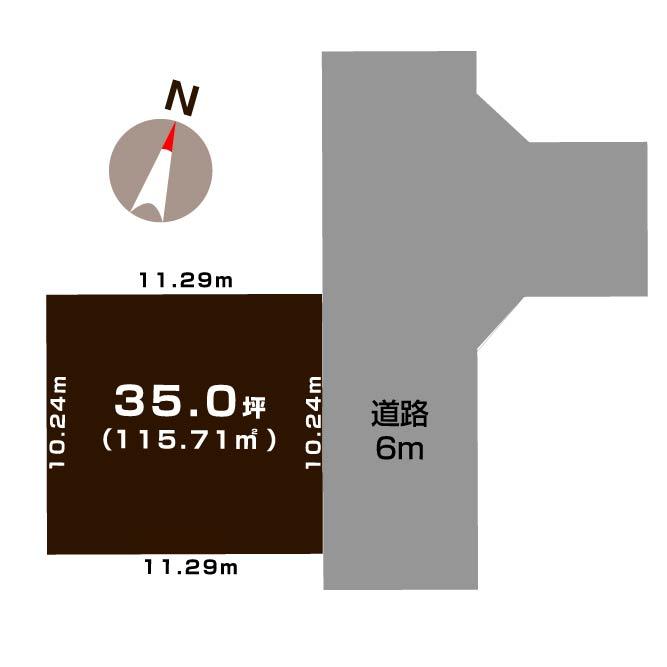 新潟市東区上木戸の【土地】の敷地図