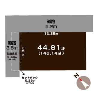 新発田市西園町の【土地】不動産情報の敷地図