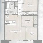 新潟市東区下木戸のマンションの間取図