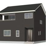 新潟市北区松浜新町の新築住宅2号棟の外観パース