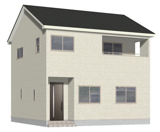 新潟市北区松浜新町の新築住宅1号棟の外観パース