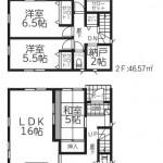 新潟市中央区南笹口1号棟の新築住宅の間取図